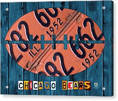 Chicago Bears Football Recycled License Plate Art Acrylic Print by Design Turnpike