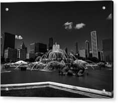 Chicago - Buckingham Fountain 002 Bw Acrylic Print by Lance Vaughn