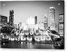 Chicago Buckingham Fountain Black And White Picture Acrylic Print by Paul Velgos