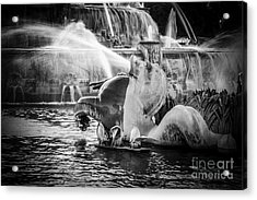 Chicago Buckingham Fountain Seahorse In Black And White Acrylic Print by Paul Velgos