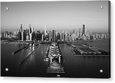 Chicago By Air Bw Acrylic Print by Jeff Lewis