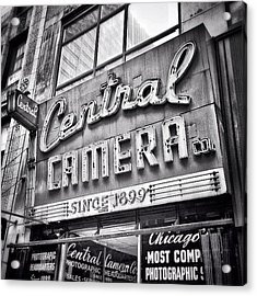 Chicago Central Camera Sign Picture Acrylic Print by Paul Velgos