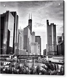 Chicago River Buildings Black And White Photo Acrylic Print by Paul Velgos