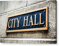 Chicago City Hall Sign Acrylic Print by Paul Velgos