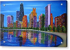 Chicago City Lights #1 Acrylic Print by Portland Art Creations