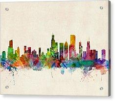Chicago City Skyline Acrylic Print by Michael Tompsett