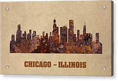 Chicago City Skyline Rusty Metal Shape On Canvas Acrylic Print by Design Turnpike