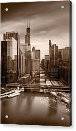 Chicago City View Afternoon B And W Acrylic Print by Steve Gadomski