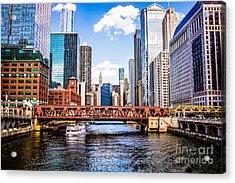 Chicago Cityscape At Wells Street Bridge Acrylic Print