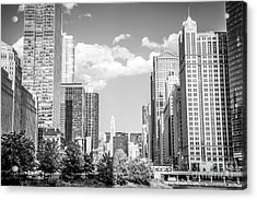Chicago Cityscape Black And White Picture Acrylic Print by Paul Velgos