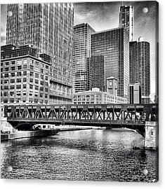 Wells Street Bridge Chicago Hdr Photo Acrylic Print by Paul Velgos