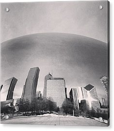 Cloud Gate Chicago Skyline Reflection Acrylic Print by Paul Velgos