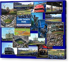 Chicago Cubs Collage Acrylic Print by Thomas Woolworth