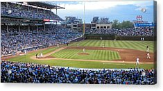 Chicago Cubs Up To Bat Acrylic Print by Thomas Woolworth