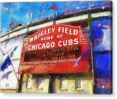 Chicago Cubs Wrigley Field Marquee Photo Art 02 Acrylic Print by Thomas Woolworth