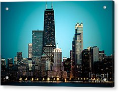 Chicago Downtown At Night With Hancock Building Acrylic Print by Paul Velgos