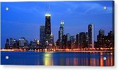 Chicago Dusk Skyline Hancock Acrylic Print