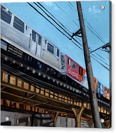 Chicago El Train Blue Line Acrylic Print