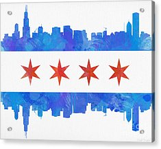 Chicago Flag Watercolor Acrylic Print by Mike Maher