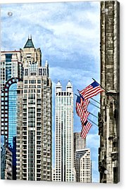 Chicago - Flags Along Michigan Avenue Acrylic Print by Susan Savad