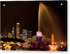 Chicago Fountain At Night Acrylic Print by Andrew Soundarajan