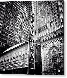 Chicago Goodman Theatre Sign Photo Acrylic Print by Paul Velgos