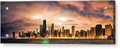 Chicago Gotham City Skyline Panorama Acrylic Print by Christopher Arndt