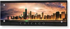 Chicago Gotham City Skyline Panorama Poster Acrylic Print by Christopher Arndt