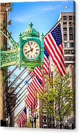 Chicago Great Clock On Macys Building Acrylic Print by Paul Velgos
