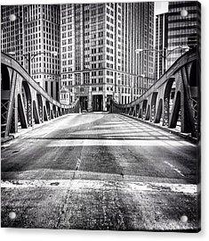 #chicago #hdr #bridge #blackandwhite Acrylic Print by Paul Velgos