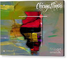 Chicago Illinois Map Watercolor Acrylic Print by Marvin Blaine