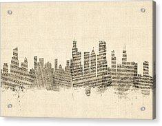 Chicago Illinois Skyline Sheet Music Cityscape Acrylic Print