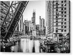 Chicago Kinzie Railroad Bridge Black And White Photo Acrylic Print by Paul Velgos