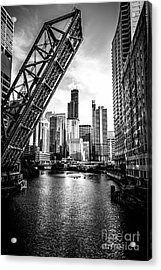 Chicago Kinzie Street Bridge Black And White Picture Acrylic Print