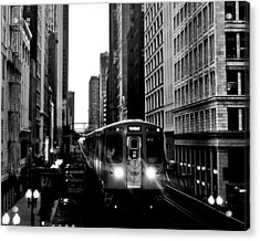 Chicago L Black And White Acrylic Print by Benjamin Yeager