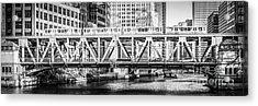 Chicago Lake Street Bridge L Train Black And White Picture Acrylic Print