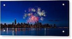 Chicago Lakefront Fireworks Acrylic Print by Steve Gadomski