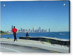 Chicago Lakefront Runner Acrylic Print by Eric Miller