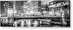Chicago Lasalle Street Bridge At Night Panorama Photo Acrylic Print by Paul Velgos