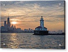 Chicago Lighthouse And Skyline Acrylic Print by John Hansen