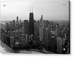 Chicago Looking South 01 Black And White Acrylic Print by Thomas Woolworth