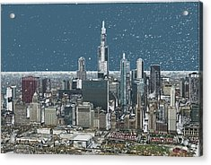 Chicago Looking West In A Snow Storm Digital Art Acrylic Print by Thomas Woolworth