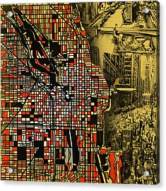 Chicago Map Drawing Collage 2 Acrylic Print