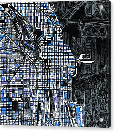 Chicago Map Drawing Collage 3 Acrylic Print