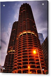 Chicago - Marina City Twilight Acrylic Print by Lance Vaughn