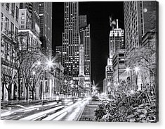 Chicago Michigan Avenue Light Streak Black And White Acrylic Print