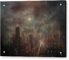 Chicago Moon Acrylic Print by Tom Shropshire