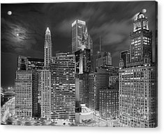Chicago Moonlight Acrylic Print by Jeff Lewis