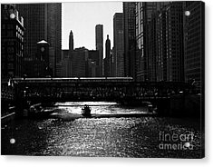 Chicago Morning Commute - Monochrome Acrylic Print