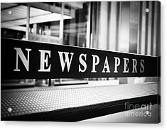 Chicago Newspapers Stand Sign In Black And White Acrylic Print by Paul Velgos
